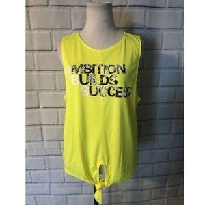 Energie Athletic Tank Top Neon Yellow Tie Front